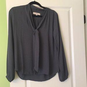 Loft front tie blouse charcoal grey NWOT